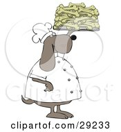 Clipart Illustration Of A Pleased Dog Chef In A Uniform Holding Up A Tray Of Doggy Biscuits In A Bakery