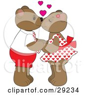 Clipart Illustration Of A Teddy Bear Couple Holding Hands And Kissing With Pink Hearts Above Their Heads by Maria Bell