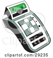 Clipart Illustration Of A Calculator Character With White And Green Buttons