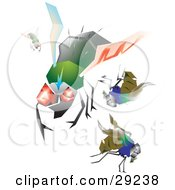 Set Of Hairy Green And Blue House Flies With Big Eyes Flying