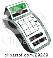 Clipart Illustration Of A Calculator Character With White Buttons And A Green Face Plate