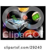 Clipart Illustration Of Red And Green Neon People Playing A Game Of Billiards On A Colorful Background With Pool Balls