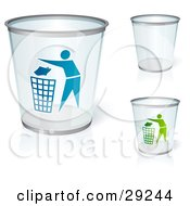 Clipart Illustration Of A Set Of Three Clear Trash Cans Two With Blue And Green People Tossing Garbage by beboy