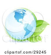 Clipart Illustration Of A Shiny Blue Earth Globe Embraced By A Green Vine And Leaves