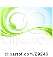 Clipart Illustration Of A Green Vine Circle On A White And Blue Background With Waves Of Green