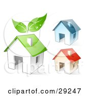 Clipart Illustration Of A Set Of Three Blue Red And Green Homes The Green With Leaves Above It