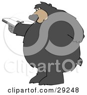 Clipart Illustration Of A Big Bear Standing And Rubbing His Back While Reading A Book