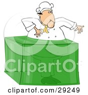 Clipart Illustration Of A Male Chef Stuck In A Giant Block Of Lime Gelatin Dessert