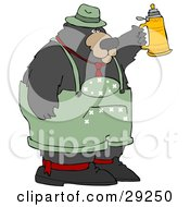 Clipart Illustration Of A Big Oktoberfest Bear In Green Holding Up A Beer Stein by Dennis Cox