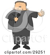Clipart Illustration Of A Male MC Or Tv Show Host Holding A Microphone And Introducing A Guest