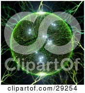 Clipart Illustration Of Electricity Striking A Green Circuit Board Planet With Bright Lights by Tonis Pan