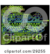 Clipart Illustration Of A Blue And Green Circuit Board Over A Black Background by Tonis Pan
