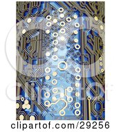 Clipart Illustration Of Light Reflecting Off Of Elements On A Blue And Gold Circuit Board