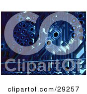 Clipart Illustration Of A Blue Circuit Board Background Showing The Intricate Circuits by Tonis Pan