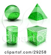 Clipart Illustration Of A Set Of Green Circuit Board Sphere Pyramid Cylinder And Cube Shapes