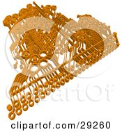 Clipart Illustration Of An Orange Circuit Board Over A White Background
