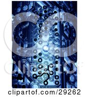 Clipart Illustration Of A Bright Light Shining Through A Hole On A Dark Blue Circuit Board by Tonis Pan