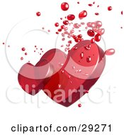 Two Red Transparent Hearts With Droplets On A White Background