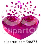 Clipart Illustration Of Pink Confetti Hearts Falling Down Into A Heart Tray by Tonis Pan