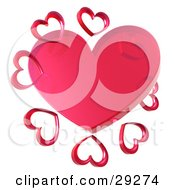 Clipart Illustration Of A Clear Red Transparent Heart Surrounded By A Circle Of Hearts by Tonis Pan