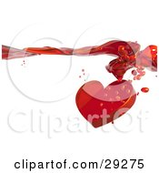 Red Heart With Droplets Splashing Through A Surface Of Red Flowing Liquid Love Potion