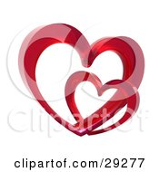 Clipart Illustration Of Two Red Glass Hearts Linked Together One Smaller Than The Other Symbolizing Love And Trust