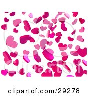 Background Of Falling Pink Confetti Hearts Over White