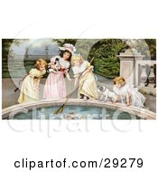 Clipart Illustration Of A Vintage Victorian Scene Of Four Little Girls With Their Dogs Fishing Goldfish Out Of A Pnd In A Park Circa 1880
