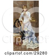 Clipart Illustration Of A Vintage Victorian Scene Of A Young Lady In A Beautiful Dress Resting Her Arms On A Chair And Looking Off To The Right Circa 1870 by OldPixels