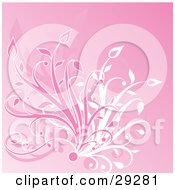 Clipart Illustration Of A Bunch Of Pink And White Grasses Growing Over A Pink Background