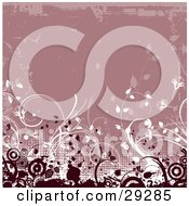 Clipart Illustration Of Dark Red Circles Grunge And White Plants And Dots Bordered By Faded Grunge On A Pink Background