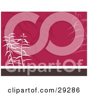 Clipart Illustration Of White And Faded Plants On A Pink White And Brown Oriental Background by KJ Pargeter