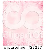 Valentines Day Border Of Pink Swirls Hearts Stars And Flourishes On A Light Pink Background