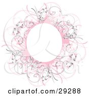 Clipart Illustration Of A Circular Pink Grunge Floral Frame With A Blank Center