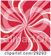 Clipart Illustration Of A Retro Background Of Red Pink And White Swirls