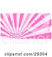 Light And Dark Pink Striped Bursting Background Of Little Stars