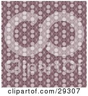 Clipart Illustration Of A Purple Wallpaper Background Of A White Floral And Swirl Pattern