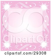 Clipart Illustration Of A Pink Border Of White Bursts And Swirls With A Blank Center Great For Scrapbooking Or Backgrounds