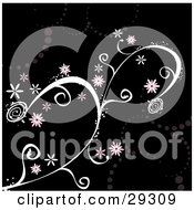 Clipart Illustration Of Pink Flowers On A Magical White Vine Over A Black Background With Faded Dots
