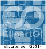 Clipart Illustration Of A Retro Background Pattern Of Blue Rectangles With White Outlines