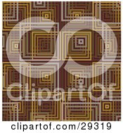 Clipart Illustration Of A Retro Pattern Of Gray Brown Orange And Yellow Square Background