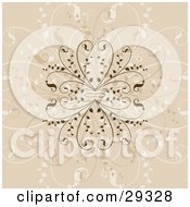 Clipart Illustration Of An Intricate Dark Light And Faded Brown Flourish Background