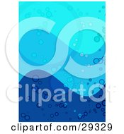 Clipart Illustration Of Three Shades Of Blue Waves With Bubbles And Circles