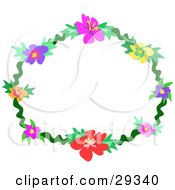 Clipart Illustration Of A Ring Of Pink Yellow Purple Red And Orange Hibiscus Flowers And Green Leaves by bpearth
