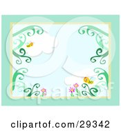 Clipart Illustration Of A Stationery Border Of Honey Bees Flying Over Pink Flowers And A Cloudy Sky