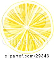 Clipart Illustration Of A Slice Of Yellow Lemon With Juicy Pulp Over A White Background
