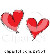 Clipart Illustration Of Two Red Hearts With Black Sketched Outlines On A White Background