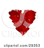 Clipart Illustration Of A Cluster Of Textured Red Hearts In The Shape Of A Big Heart Over A White Background