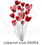 Clipart Illustration Of A Group Of Red Heart Shaped Flowers On Tall Black Stems Over A White Background