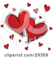 Clipart Illustration Of Two Large Red Hearts Outlined In Black Sketches Surrounded By Little Hearts On A White Background